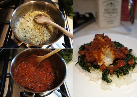 Monkfish in Spicy Tomato Sauce with Ginger Spinach